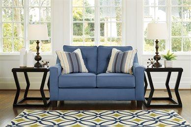 Nuvella Upholstered Loveseat Blue