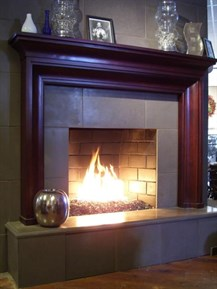 modern glass media fireplace