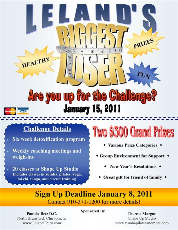 Biggest loser north brunswick chiropractic and acupuncture for Weight loss challenge flyer template