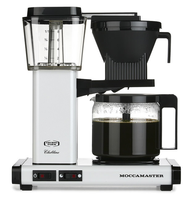 Carolina Coffee Technivorm Moccamaster KBG Automatic Drip Stop Coffee Maker with Glass Carafe - White
